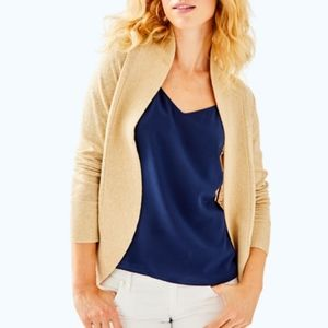 AMALIE OPEN CARDIGAN HEATHERED CAMEL METALLIC GOLD